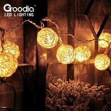 HOT 3M Rattan Balls String Lights,Handmade Garland,strip lights,Fairy Christmas Home Pendant Decoration Curtain Lamp