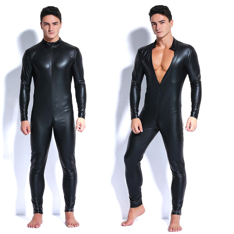 2018 Men Faux Leather Zipper Crotch Latex Catsuit Jumpsuit Sexy Lingerie Erotic Costumes Spandex Catsuit Bodysuit Clubwear