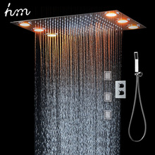 Rain Shower Set&3 Body spray LED Lights &Handshower Remote control color 3 Way Temperature Thermostatic Mixer Bathroom 360*500mm