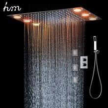 Set de ducha de lluvia y 3 luces LED de pulverización corporal, mando a distancia, mezclador termostático de temperatura de 3 vías, para baño, 360x500mm