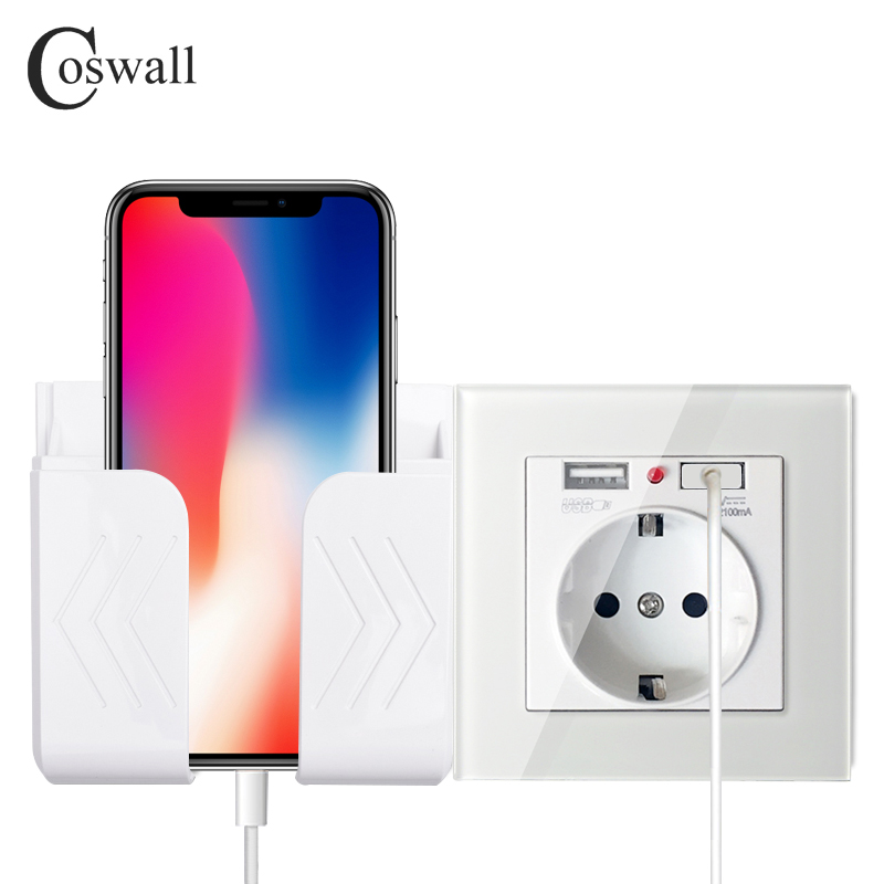 Coswall Wall USB Socket Phone Holder Smartphone Accessories Stand Support For Mobile Phone Apple Samsung Huawei Phone Holder