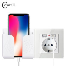 Coswall Wall USB Socket Phone Holder Smartphone Accessories Stand Support For Mobile Phone Apple Samsung Huawei Phone Holder()