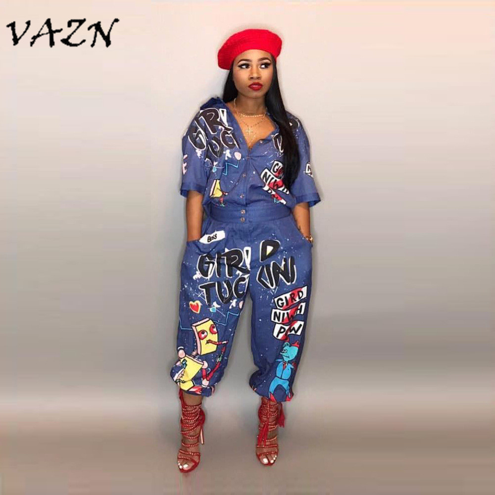 VAZN 2018 New Style Brand Fashion Hip Hop Style Women   Jumpsuit   Special Letter Turn Down Collar Half Sleeve Romper LD8103