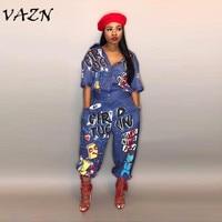 Vazn 2018 Новый стиль модный бренд хип-хоп Стиль Для женщин комбинезон специальное письмо отложным воротником Половина рукава Ползунки LD8103