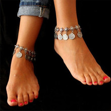 New Chaine Cheville Femme Foot Chain Gypsy Old Turkish Coin Silver Anklet Ankle Bracelet Beach Foot Jewelry Bijou Leg Chain