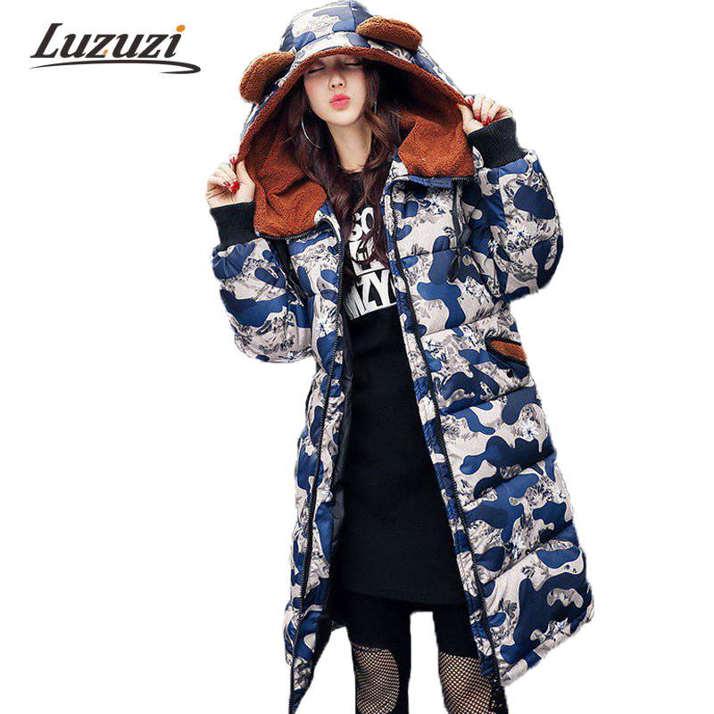 2017 New Fashion Camouflage Winter Coats Women Winter Jackets Female Long Loose Parka Girl Overcoat abrigos