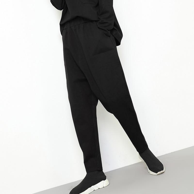 Bolsillos Europa Mujeres Lápiz Negro Otoño Cintura Calle Personalidad Mujer Moda Pantalones Elástico 2018 Casual Harem Cruz 8twnrxtqT0