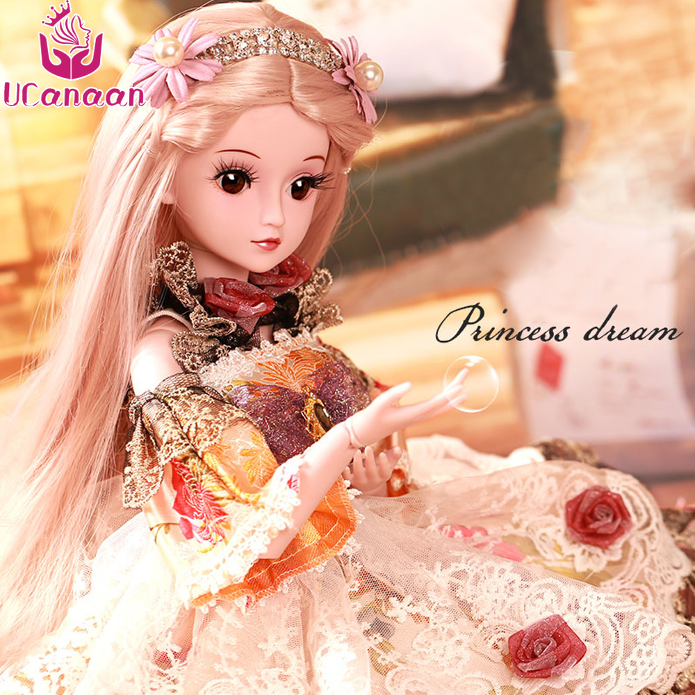 UCanaan 1/3 BJD SD Doll Princess Girl 24 60cm 19 Jointed Dolls Valentine's Gift Toy цена