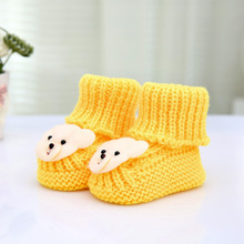 Fashion Cartoon Bear Decorated Baby Shoes Handmade Knitted Newborn Infants Boots Casual Footwear Girls Boys Booties 11cm