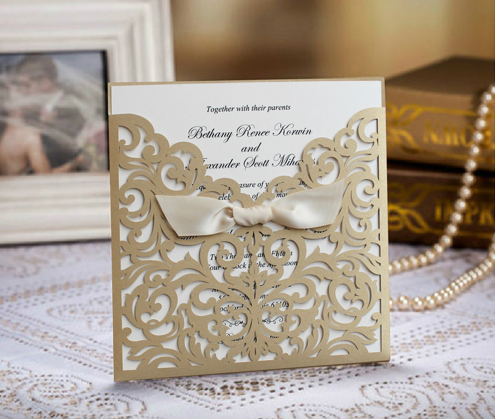 Gold Wedding Invitation Cards With White Ribbon Set of 50-in Cards ...