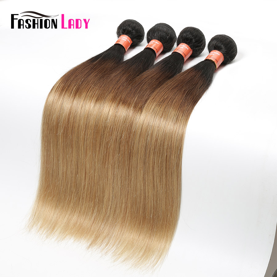 Fashion Lady Pre-Colored Malaysian Straight Hair Bundles 1b/4/27 Ombre Human Hair Weave 4 Bundles Non Remy Hair Extension