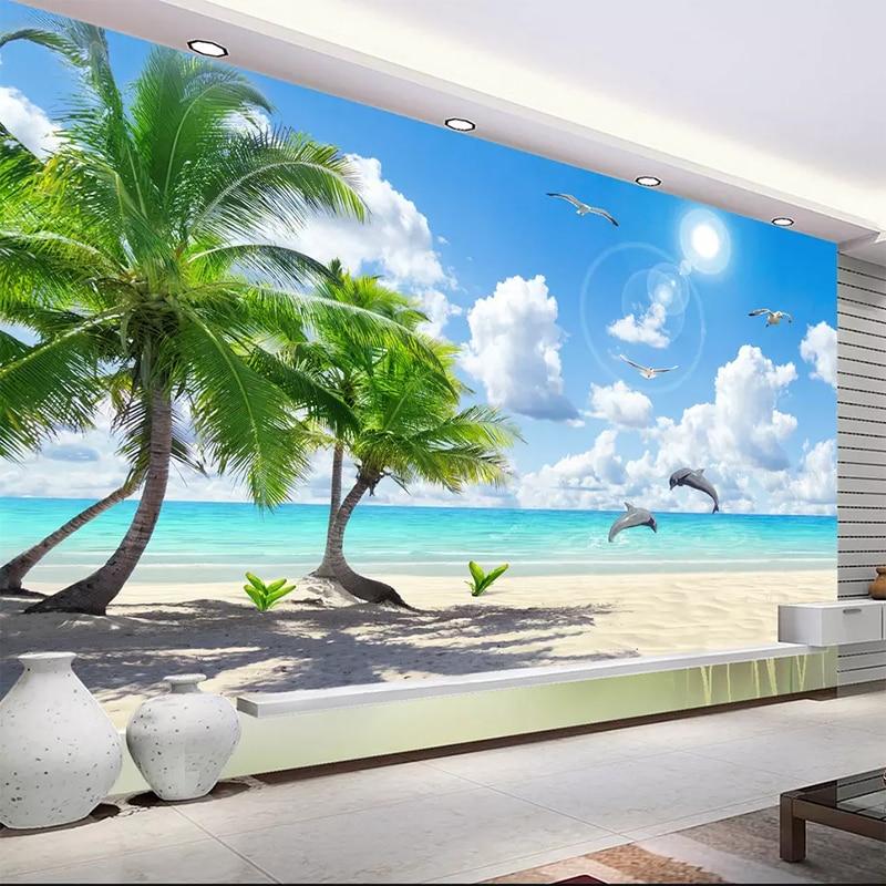 Custom 3D Mural Wallpaper Non-woven Bedroom TV Background Fresco HD Coconut Tree Beach Dolphin Landscape Photo Wall Paper Roll