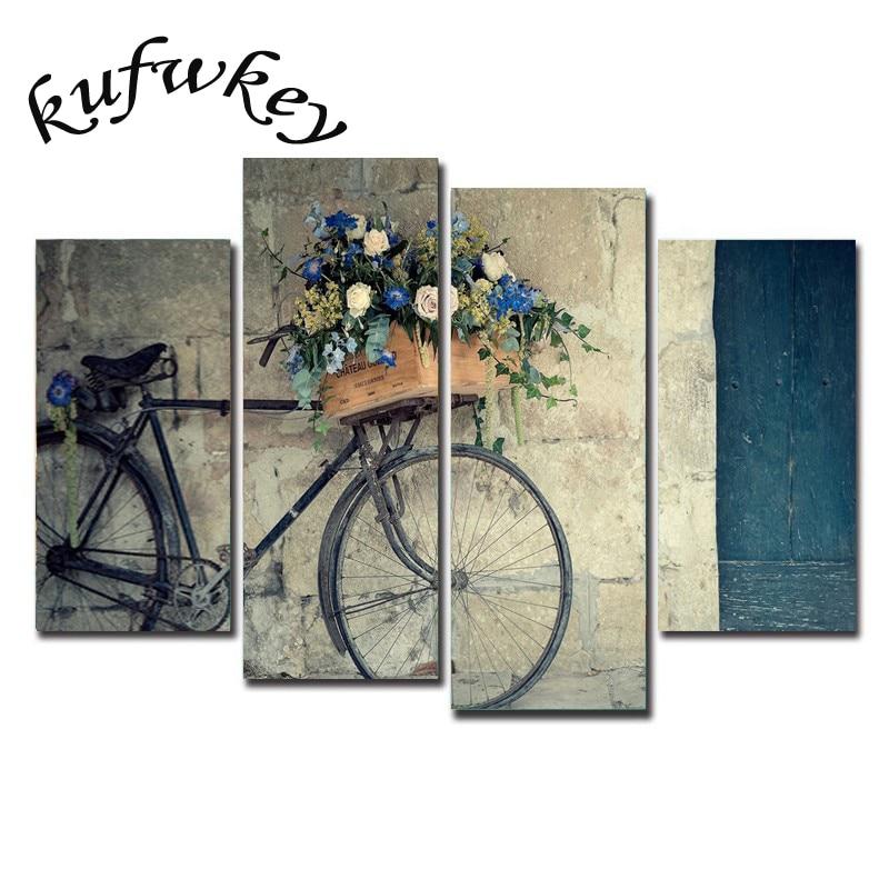 Diy 3d Diamond Mosaic Painting Vintage Home Decor Print Retro Bike Oil Painting Wall Picture
