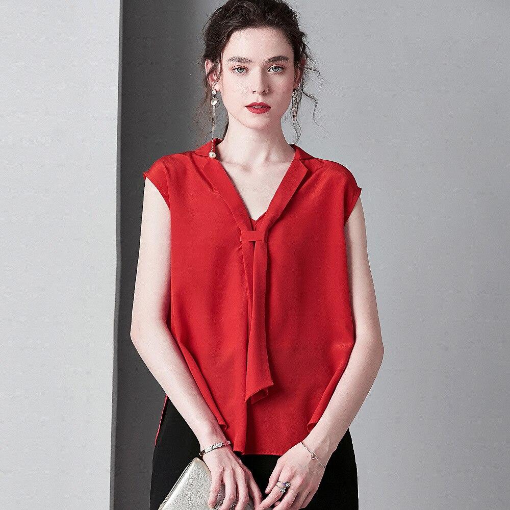 Été rouge 100% soie Blouses rubans costume col lâche décontracté dames hauts grande taille femmes vêtements rose pull za blusas mujer