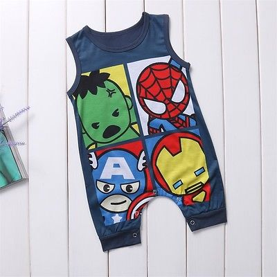 Cute Newborn Infant Baby Boys Girls Cartoon Superhero Cotton Romper Jumpsuit Sleeves Playsuit Toddler Kids Clothes Outfit in Rompers from Mother Kids