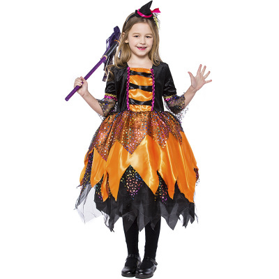 New style children's cosplay costume orange dress Halloween Holiday costume