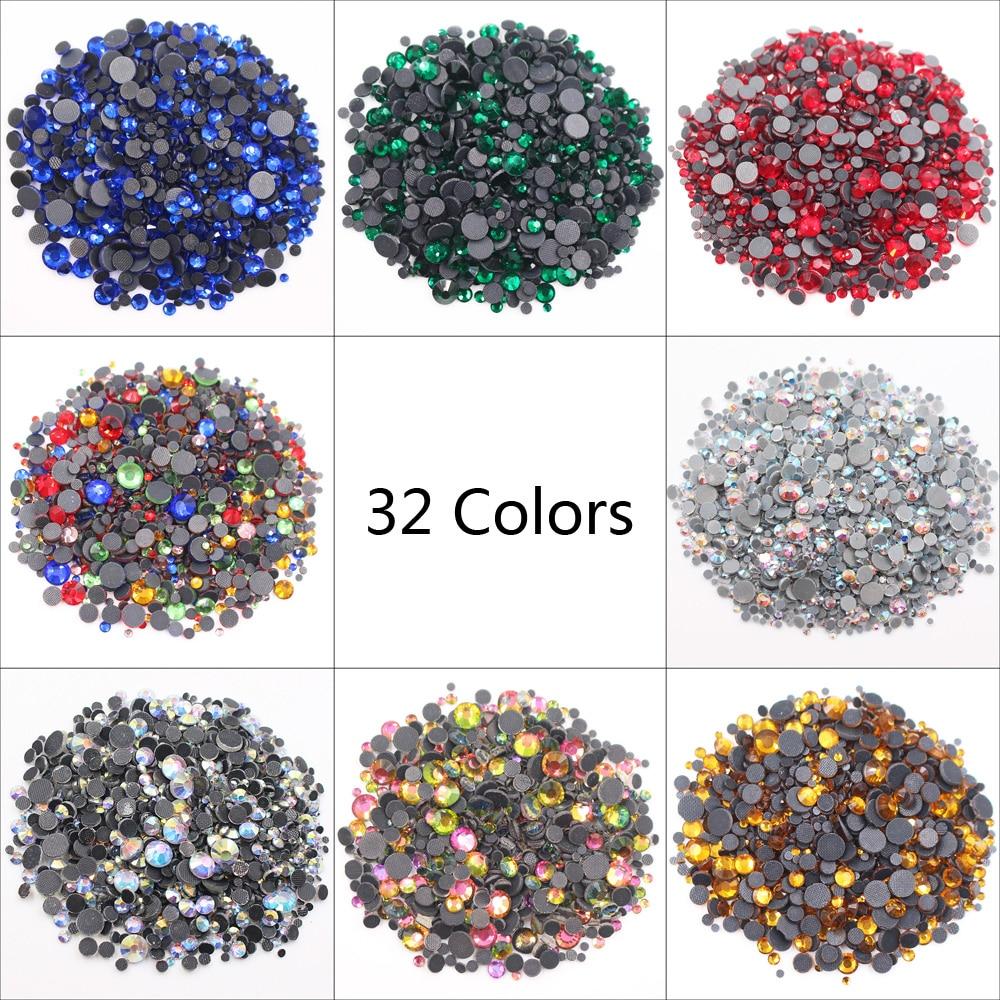 2500pcs Hot Fix Rhinestones Mix Size Stones And Crystals Strass Rhinestones Adhesive Glue-Back Iron On Rhinestones For Clothes