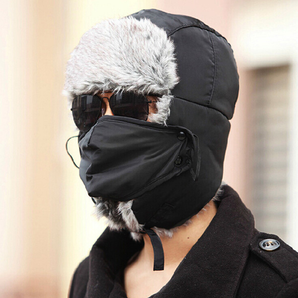 Rushed New Men Faux Fur Ears Trapper Hat With Mask For Sale Cool Winte Warm  Bomber hat for Man Aviator caps-in Headbands from Apparel Accessories on ... fb285b6dc0c