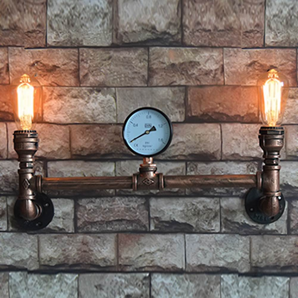 American Country Retro 2 Heads Waterpipe Iron Plated Wall Lamps With PSI Pressure Gage Wall Lights Sconces For Home Art Deco как игру n gage