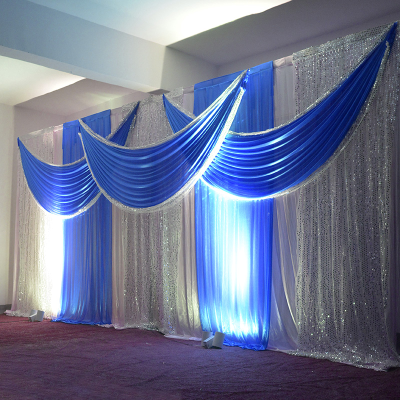 3m 6m Wedding Backdrop Swag Party Satin Curtain