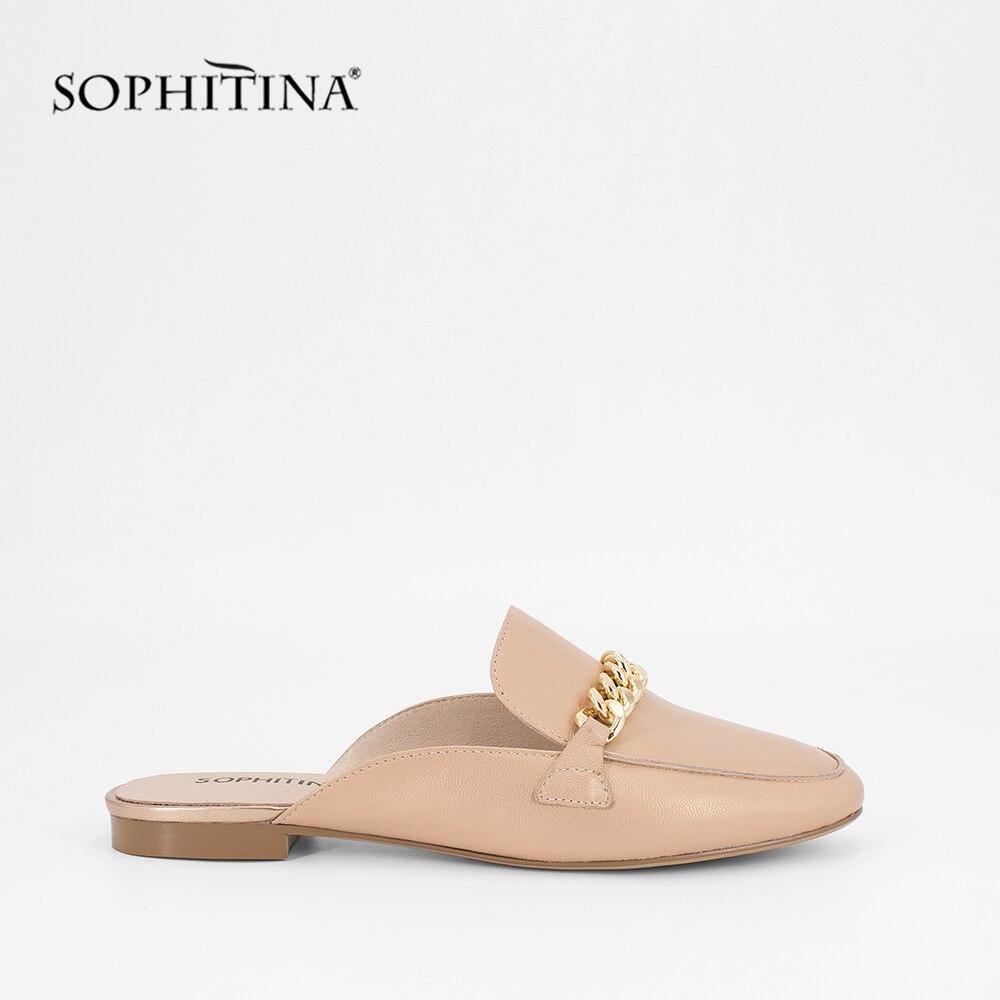 SOPHITINA Mules 2019 New Fashion Genuine Leather Square Toe Low Heel Elegant Lady Shoe Handmade Sheepskin