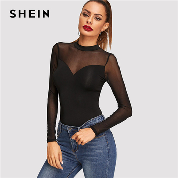 SHEIN Black Office Lady Workwear Solid Contrast Mesh Sheer Long Sleeve Elegant Skinny Tee Autumn Casual Women Tshirt And Top