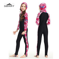 Sbart Print Long Sleeve Rash Guard for Youth Girl Boy Anti Jellyfish UV Protection Snorkeling Suit Quick dry Lycra Surf Swimsuit
