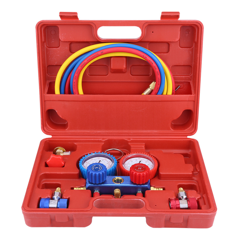 R134a Air Conditioner A C Manifold Gauge Set with 5ft Charging Hose Tool Manifold Gauge Set