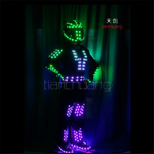 TC-158 Programm led clothes ballroom robot led costume women stage party dance wears dj club colorful suit helmet model dresses