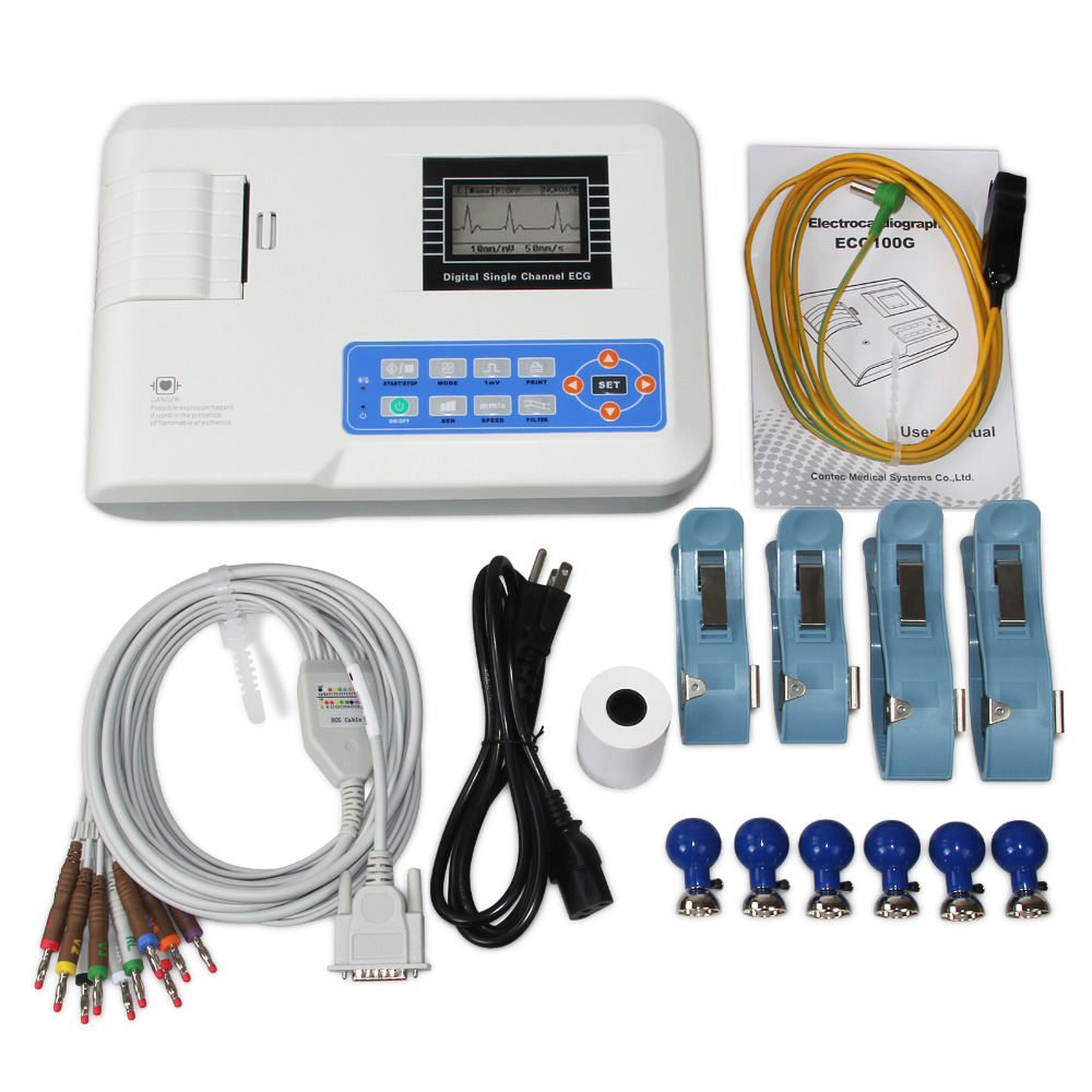 CONTEC FDA CE ECG100G Single Channel ECG EKG ECG EKG Machine With Printer Paper ,PC Software