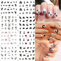 1 Lot = 12 Sheets Black Cat Kitten Water Transfer Nail Art Decal Tips Stickes Manicure Watermark Paper YB409-420