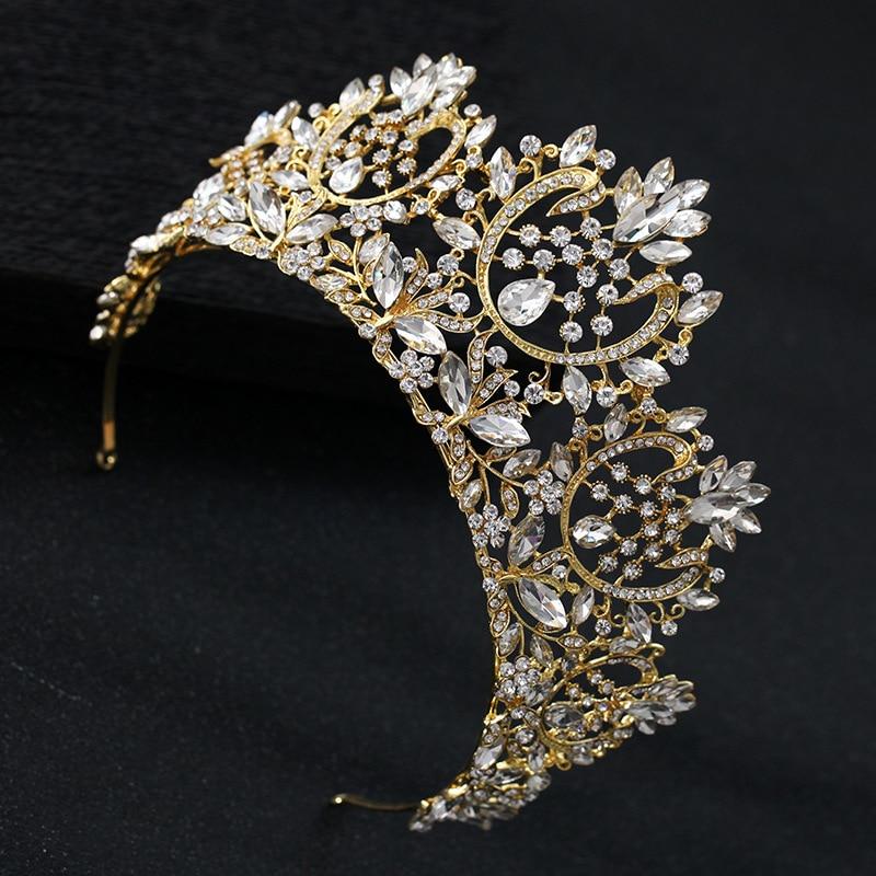 Image 4 - KMVEXO New Vintage Luxury Big European Bride Wedding Tiaras Gorgeous Crystal Large Round Queen Crown Wedding Hair Accessories-in Hair Jewelry from Jewelry & Accessories