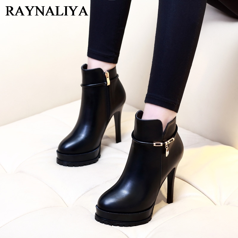New Sexy Women Boots Fashion Platform Thin High Heels Black Ankle Boots For Woman Leather Party Nightclub Ladies Shoes CH-A0038 new arrival black brown leather summer ankle strappy women sandals t strap high thin heels sexy party platfrom shoes woman