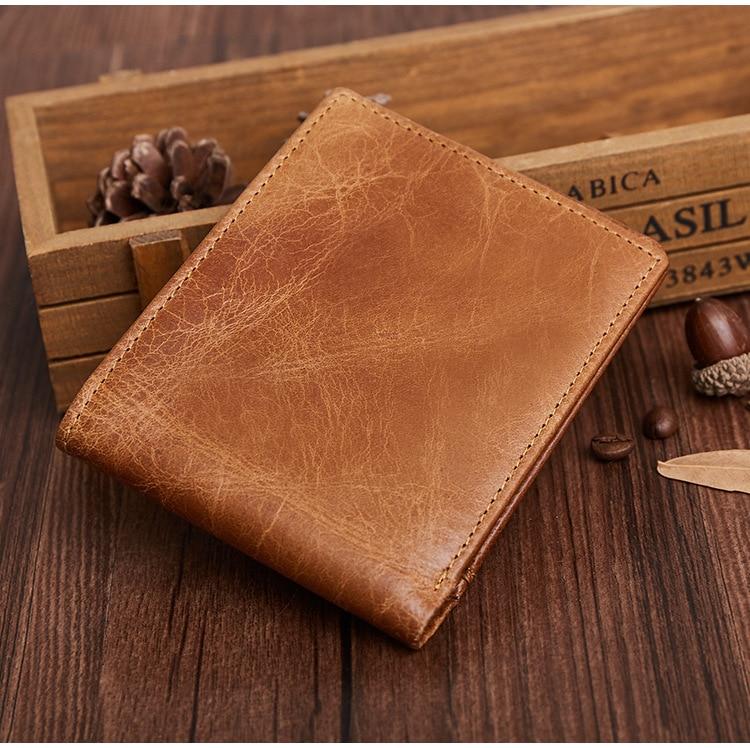 Leather men's wallet Fashion casual anti-RFID stolen thin wallet wallet First layer leather handbag tatonka euro wallet rfid black 2955 040