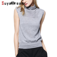Women Wool Sweater 100%Merino Wool Turtleneck Sleeveless Pullovers For Women 2018 Fall Winter Knitwear Vest