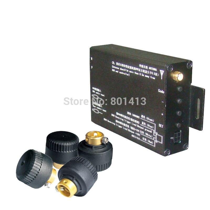 Système de surveillance de pression des pneus TPMS avec 4 capteurs de valve externes pièces compatible avec n'importe quel moniteur, GPS, DVD avec la sortie AV