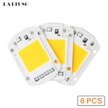 LATTUSO 6pcs LED COB Chip 10W 20W 30W 40W 50W AC 220V 110V No need driver Smart IC bulb lamp For DIY LED Floodlight Spotlight(China)