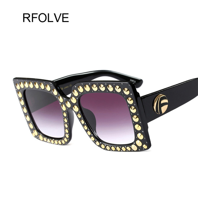 591f84e42a RFOLVE New Brand Design Fashion Square Sunglasses Women Protection Glasses  Unique Rivets Big Frame Retro Women