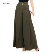 Office Ladies Summer Wide Leg Palazzo Pants Women Chiffon Skirt Pants Womens Plus Size Loose Bell Bottom Pants Flared Trousers