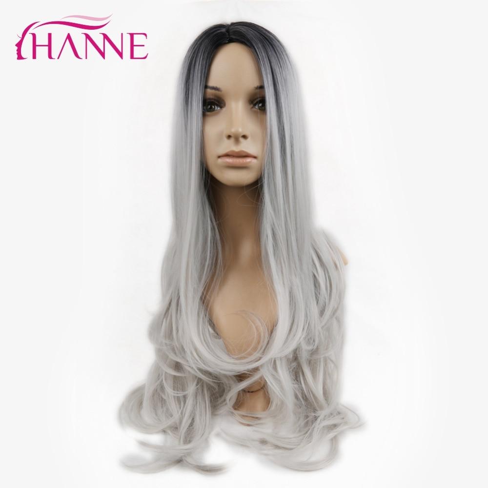 HANNE Svart till Ljusgrå 26inch Long Ombre Daywear eller Party Paryk - Syntetiskt hår - Foto 2