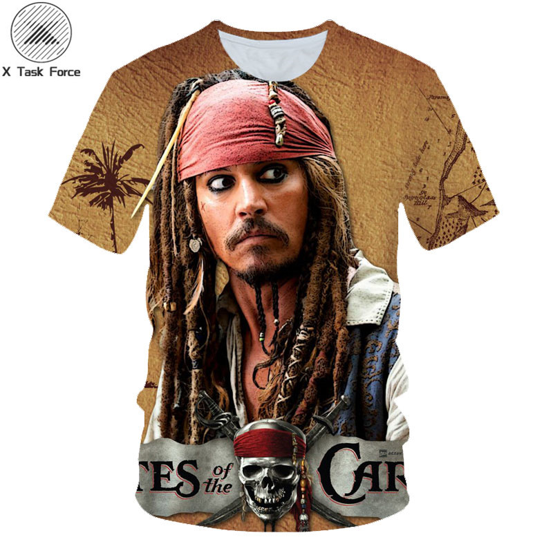 Newest Funny <font><b>T</b></font> <font><b>Shirt</b></font> <font><b>Men</b></font> <font><b>T</b></font>-<font><b>shirt</b></font> Movie Pirates Caribbean Jack Sparrow Tshirt 3D Print Tee Unisex Casual Tshirts Camisetas <font><b>6XL</b></font> image