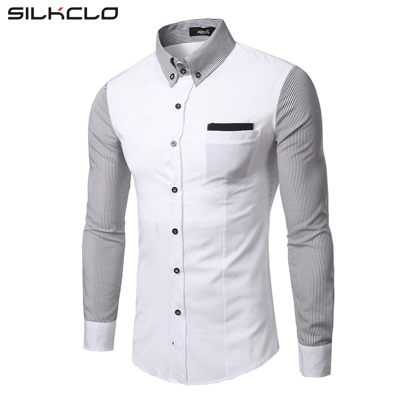 FLC Brand New Fashion 2016 Classic Men Striped Sleeves Designed Dress Shirt Long Sleeve Turn-down Collar Slim Fit Men's Shirts
