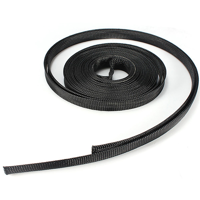 Black Braided Wire Sleeve Mesh Protecting PET Nylon Braided Cable ...