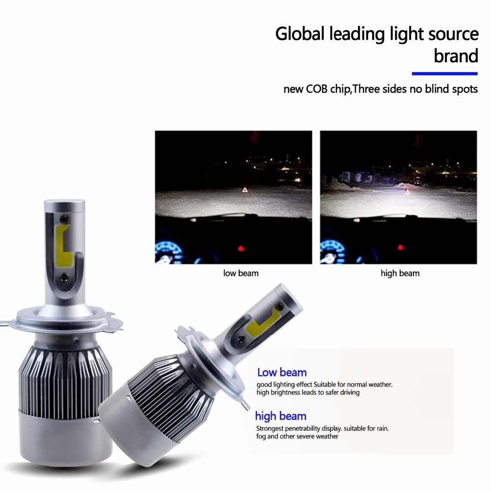 GEETANS H4 H7 H13 H11 H1 9005 9006 COB LED Headlight 60W Car LED Headlights Bulb Head Lamp 9004 Light Pure White 6000-6500K EH