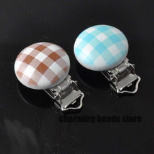 tartan pattern Wooden Baby Pacifier Clips Infant Cute Soother Clasps 29x46mm 1PCs MT0476X