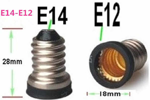 1000pcs E14 to E12 LED edison screw socket adapter Led Light bulb base E14-E12 Lamp Holder converter chandelier lamp base