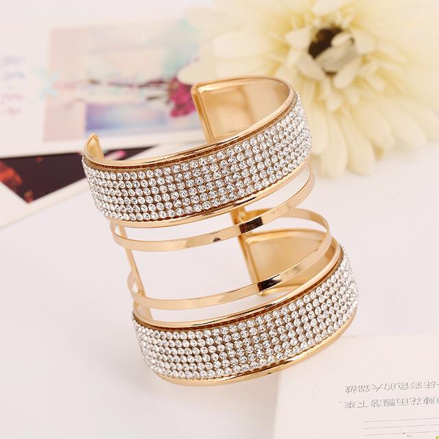 Big Statement Bridal Bracelets Bangles Exaggerate Cuff Bracelets Punk Full  Crystal Solid Pattern f7c1f8ca24aa