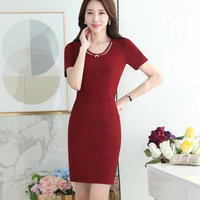 Female Dress Elegant Temperament Occupation Dress Short Sleeved Work Women Business Suit Formal Office Dress Suit