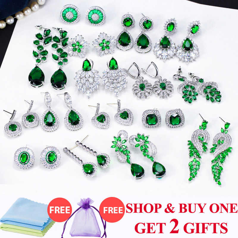 ThreeGraces Vintage Big Water Drop Green Crystal Stone Long Earrings Flower Cubic Zirconia Women Wedding Hanging Earring ER047