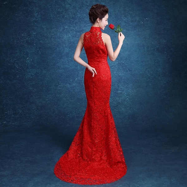 dentelle rouge traînant sans manches sirène moderne cheongsam robes - Vêtements nationaux - Photo 2